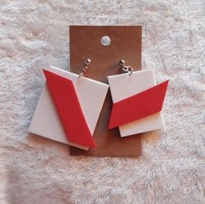 White & Red Square Foam Earrings